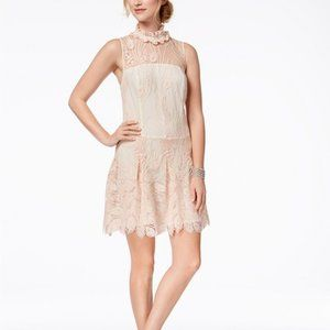 New Floral Embodied Illusion Tulle Mini Dress Sz6
